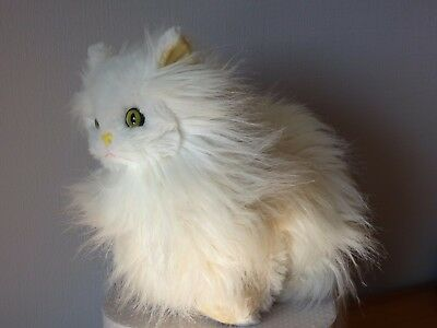 Chat  Angora Blanc Vintage Assis 35 Cm  Marque Tieno Made In France