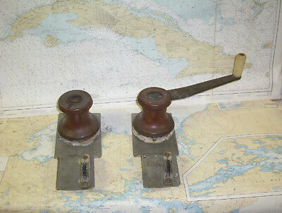 Boaters' Resale Shop of TX 1611 1541.05 PAIR OF BRONZE WINCHES W/ HANDLE & CAMS