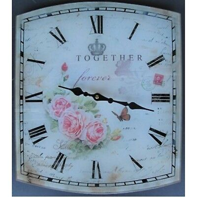 Nostalgia Wall Clock Glass 34x40cm together forever Roses Country House Style
