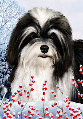 Large Indoor/Outdoor Winter Flag - Black & White Havanese 15092