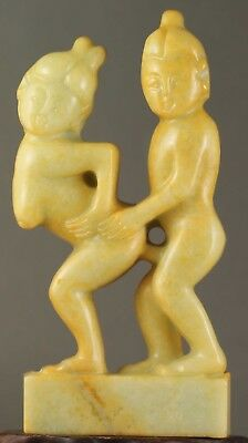 Chinese old natural jade hand-carved statue 3.7 inch