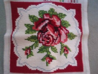 Completed Tapestry Canvas - Rose Design -Picture or possibly make cushion cover