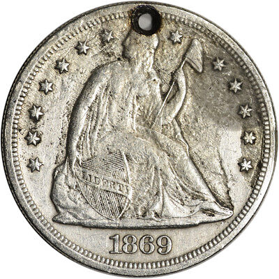 1869 US Seated Liberty Silver Dollar $1 - XF Details - Holed