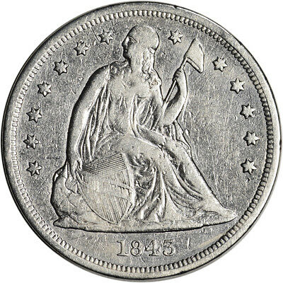 1843 US Seated Liberty Silver Dollar $1 - VF Details - Graffiti Reverse