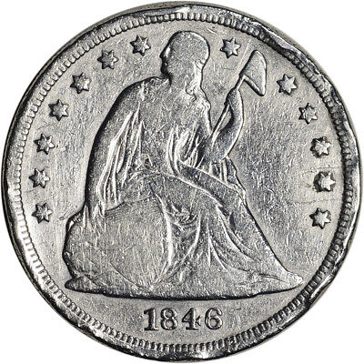 1846 US Seated Liberty Silver Dollar $1 - VG Details - Rim Damage