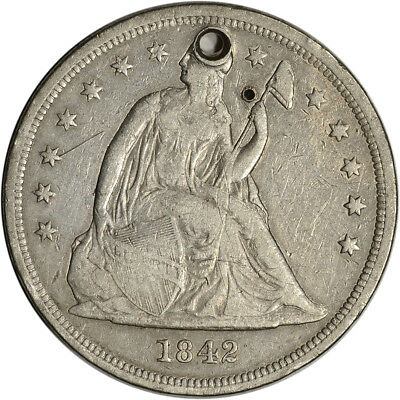 1842 US Seated Liberty Silver Dollar $1 - VF Details - Holed