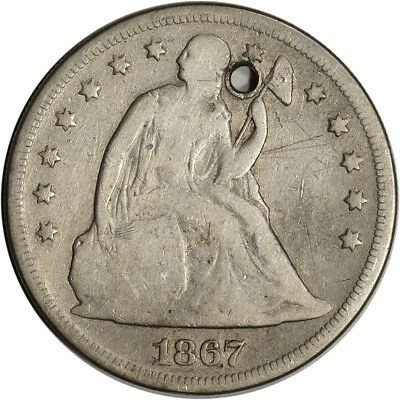 1867 US Seated Liberty Silver Dollar $1 - VG Details - Holed