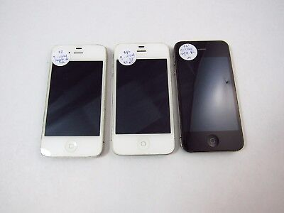 Lot of 3 Account Locked Apple iPhone 4 16GB Unknown Carrier Check ESN GL PBP