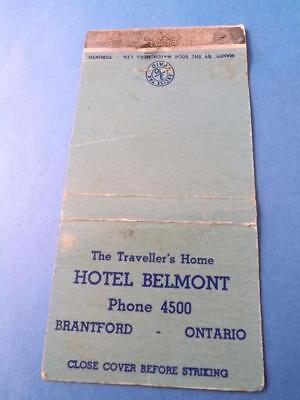 Hotel Belmont Excise Tax Stamp Phone 4500 Matchbook Brantford Ont Advertising