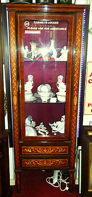 Antique / Vintage French Or Italian Marquetry Inlaid Display Cabinet Show Case