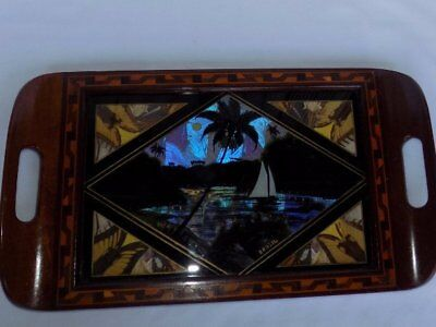 Vtg Brazil Iridescent Blue Butterfly Wings Scenic Painted Marquetry Wood Tray