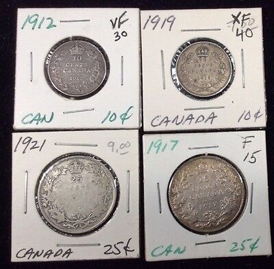 Canadian Silver Coins-Lot of 4 Coins