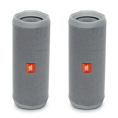 JBL Flip 4 Portable Waterproof Bluetooth Speaker - Pair (Gray)