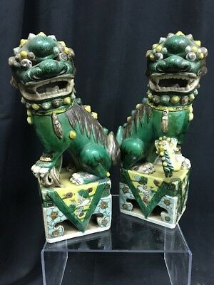 "Pair Of Chinese Pottery Antique Hand Painted Foo Dog Figures 11"" Tall China"
