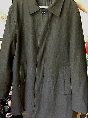 Men's GAP Wool Top Coat Dark Gray Quilted Lining Career Collared Jacket size XL