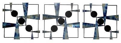 Modern Abstract Metal Wall Art Sculpture Metal Frame Thress Blue Stainless Steel