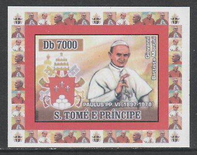 St Thomas & Prince 5758 - 2007 POPE PAUL VI  imperf deluxe sheet unmounted mint