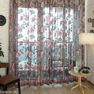 Home Sheer Floral Tulle Voile Door Window Curtain Drape Panel Scarf Valances BM