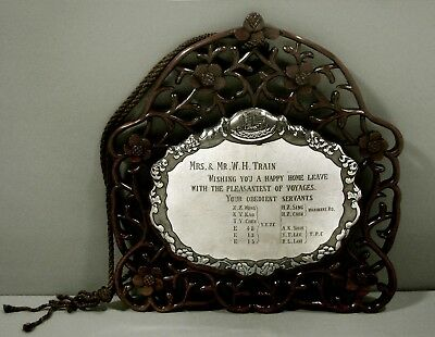 Chinese Export Silver Wall Plaque    c1890           Presentation for a Voyage