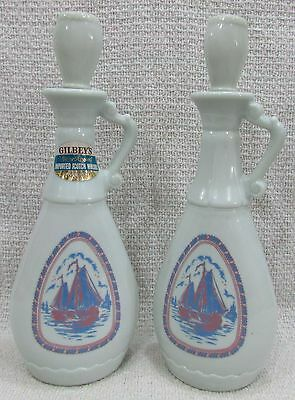 Empty 1960's Gilbey's Scotch Whiskey Glass Decanter Old Bottle Sailboat FREE S/H