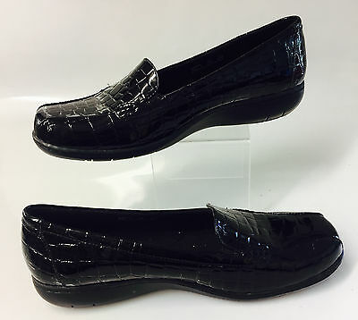 CLARKS BENDABLES LOAFERS SHOES Womens Black Patent Leather Slip On Size 10 W