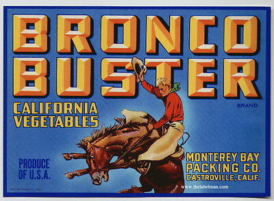 BRONCO BUSTER Vintage Vegetable Label, Western, Cowboy, Horse, AN ORIGINAL LABEL