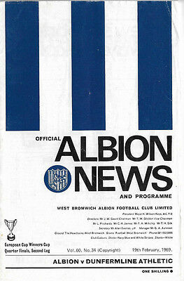 1968/69 European Cup Winners Cup - WEST BROMWICH ALBION v. DUNFERMLINE ATHLETIC