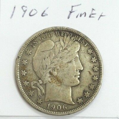 1906 Barber Half Dollar Better Date Fine Plus Details