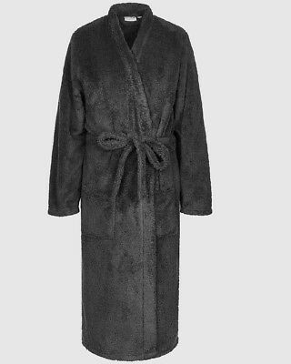 SUPERSOFT MENS ROBE Grey Microfibre Bathrobe Dressing Gown Sizes S-XXXL Branded