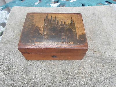 Antique Victorian Mauchline Ware Style Box with Peterbourgh Cathedral Image