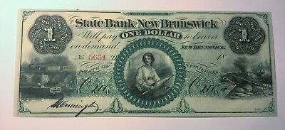 1860's $1 The State Bank of New Brunswick NJ Obsolete Remainder Note