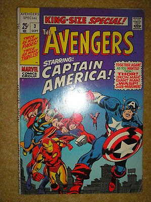 AVENGERS KING-SIZE SPECIAL # 3 AVENGERS 4 KIRBY 25c 1969 SILVER AGE MARVEL COMIC