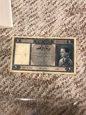 Government Of Iraq One Dinar 1931 King Ghazi In Military Uniform