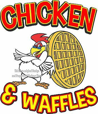 "Chicken & Waffles DECAL 7"" Restaurant Concession Food Truck Vinyl Sticker Sign"