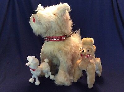 VINTAGE 1950's- 60's FUR & PLUSH TOY DOGS LOT of 3