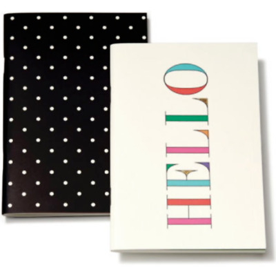 Kate Spade Notebook Set - Hello + Deco Dots - 2 x Note Books -Brand New & Sealed