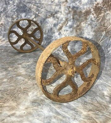 2 Factory Cart Wheels & Axel Cast Iron Vintage Lineberry Industrial Age