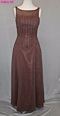 Caterina Collection Brown 12 Wedding Mother of The Bride Beaded Sheath Dress