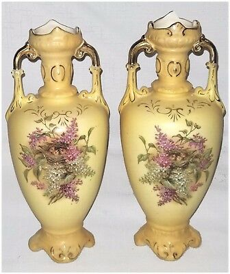 PAIR/ ANTIQUE AUSTRIA ROYAL WETTINA URN VASES YELLOW w/HAND PAINTED BIRDS LILACS
