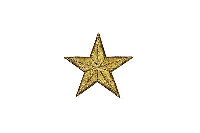 1.25 Inch Lot of 60 Yellow Gold Star Embroidered Patch Jean Applique Badge  AO