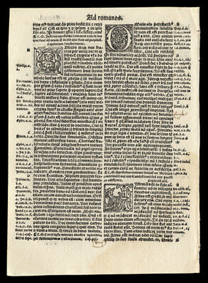 New Testament 1519 Bible Leaf Paul's Epistle to The Romans  4 Historiated Letter
