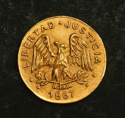 1867, Mexico (Private Coinage). Beautiful Tiny Gold 1/4 Peso Token Coin. 0.61gm!