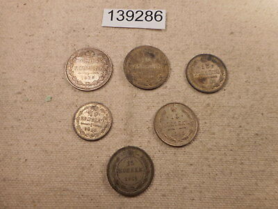 Russia Six Piece WW I Type Set Tenns-1920's - Nice Examples Silver - # 139286