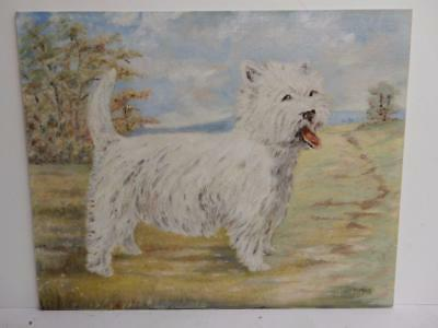 VINTAGE old PAINTING of a dog westie terrier signed