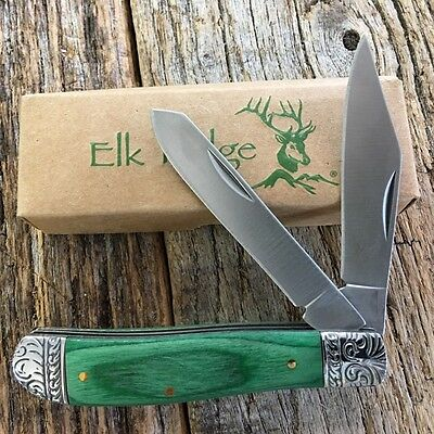 ELK RIDGE Green WOOD GENTLEMAN'S 2 Blade Folding Pocket Knife Fancy Bolsters -M