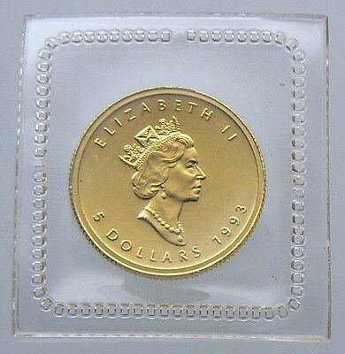1993 Canada $5 1/10 oz Gold Maple Leaf .9999 PURE Sealed in Mint Plastic