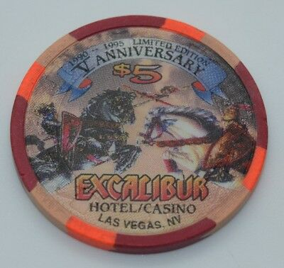 Excalibur $5 Casino Chip Las Vegas Nevada H&C Paulson 5th Anniversary 1995