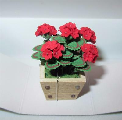 Miniature Dollhouse 1:12 Scale Red Geraniums In Square Planter - A627