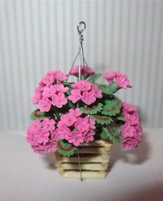 Miniature Dollhouse 1:12 Scale Pink Geraniums In Hanging Basket/planter - A618