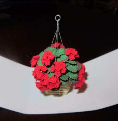 Miniature Dollhouse 1:12 Scale Red Geraniums In Hanging Basket/planter - A617
